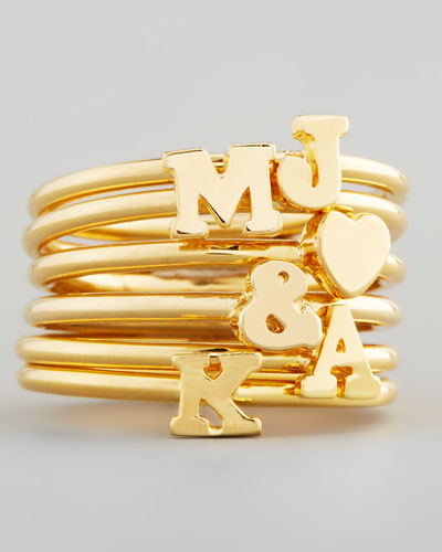 Letter Yellow Gold Ring