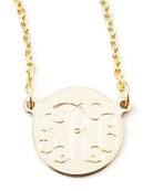 """Cara Monogrammed 14k Gold Necklace, 3/8"""""""