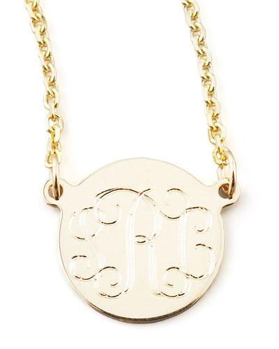 Cara Monogrammed 14k Gold Necklace, 3/8