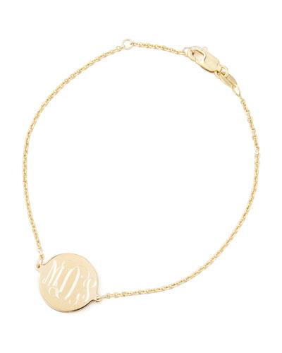 Cara Monogrammed Circle Chain Bracelet, Gold