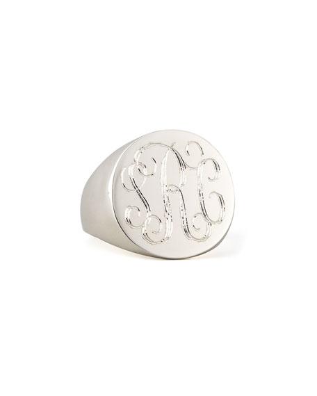 Sarah Chloe Lana Monogrammed Round Signet Ring, Silver, Size 6-8