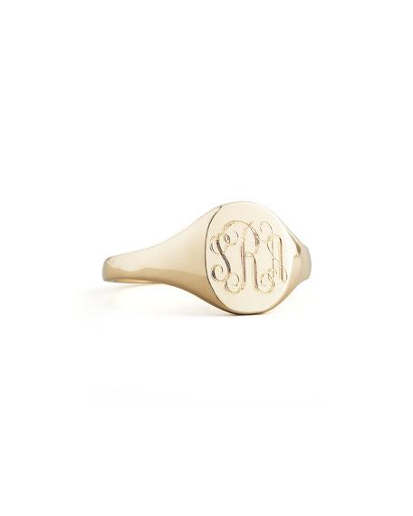 Sarah Chloe Gold Lana Monogrammed Oval Signet Ring, Petite