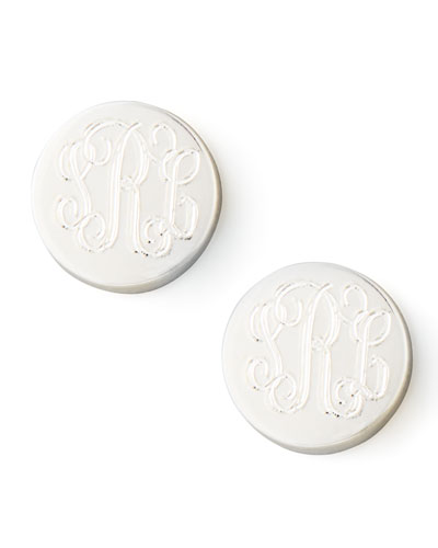 Lia Monogrammed Stud Earrings, Silver