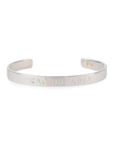 Sarah Chloe 6mm Ciela Duo Name Cuff Bracelet with Diamond