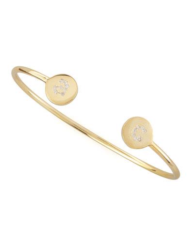 Elle Pave Diamond Initial Bracelet, Gold