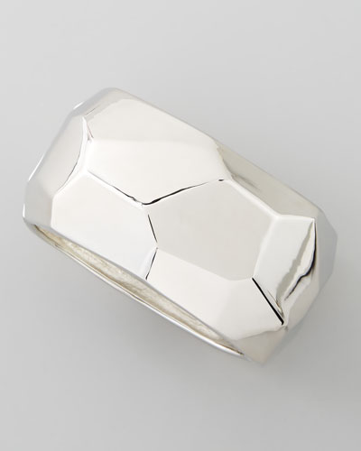 Silver Geometric Hinged Bangle