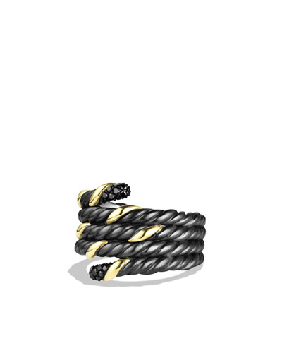 Black & Gold Serpent Ring with Black Diamonds