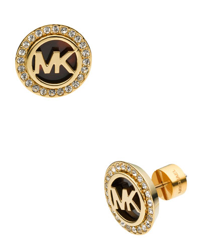 Logo Pave Stud Earrings, Golden/Tortoise