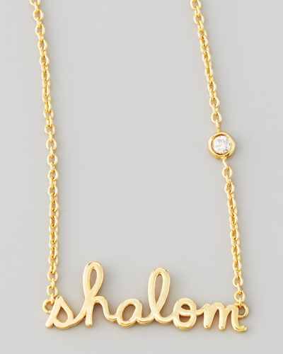 Shalom Necklace with Diamond, Golden