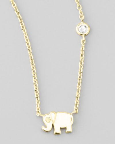 Elephant Pendant Bezel Diamond Necklace