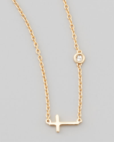 Cross & Single-Diamond Necklace