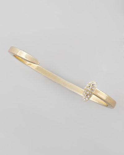 Skinny Crystal Railroad Spike Bracelet, Golden