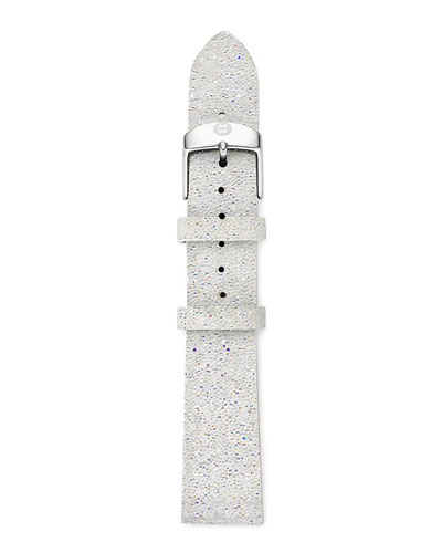 18mm Crystal-Covered Leather Strap, White