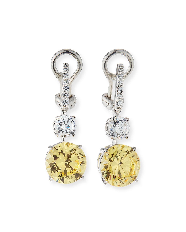 10.0 TCW Canary/Clear Cubic Zirconia Drop Earrings