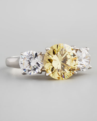 Triple-Stone Cubic Zirconia Ring, Canary/Clear
