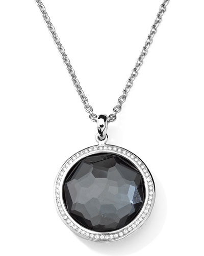 Stella Large Lollipop Necklace in Hematite & Diamonds 16-18