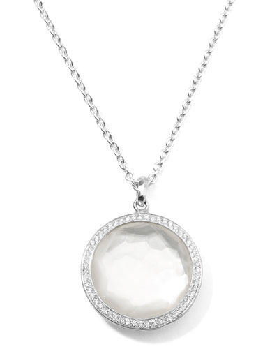 Stella Large Lollipop Necklace in Mother-of-Pearl & Diamonds 16-18