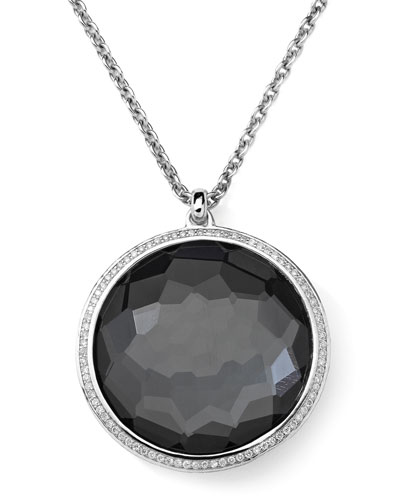 Stella Pendant Necklace in Hematite & Diamonds 16-18