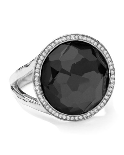 Stella Lollipop Ring in Hematite & Diamonds, 0.23ct