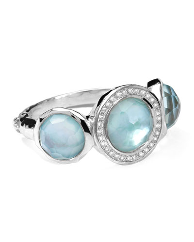 Stella Ring in Blue Topaz over Mother-of-Pearl with Diamonds, 0.12