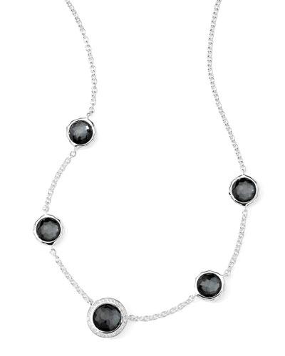Stella Necklace in Hematite Doublet & Diamonds 16-18