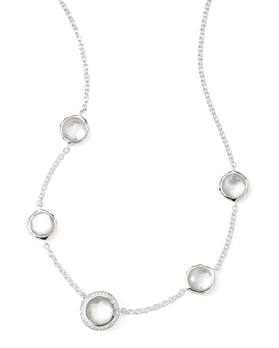 Stella Necklace in Mother-of-Pearl Doublet & Diamonds 16-18