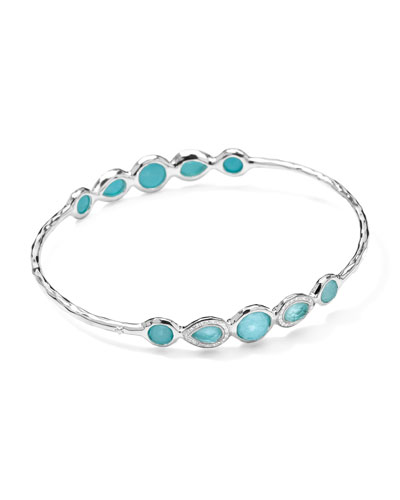Stella Sterling Silver 10-Doublet Bangle in Turquoise & Diamonds