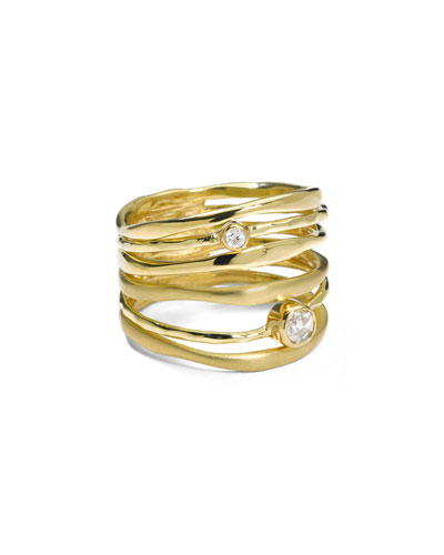 18K Gold Stardust Movie Star Six-Band Ring with Diamonds