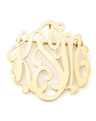 Gold-Plated Script Monogram Pin