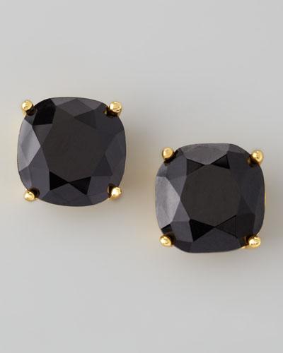 small square stud earrings, jet black