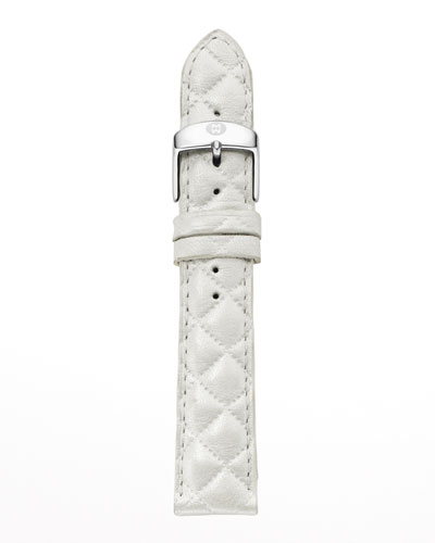 20mm Quilted Leather Watch Strap, White