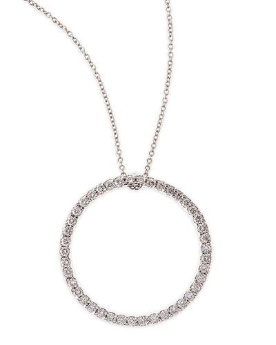 18k White Large Diamond Circle Pendant Necklace