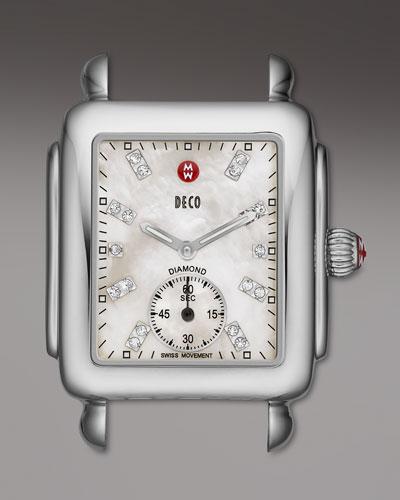 16mm Deco Diamond Dial Watch Head, Steel
