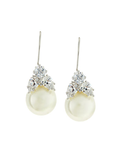 10mm Simulated Pearl & Cubic Zirconia Drop Earrings