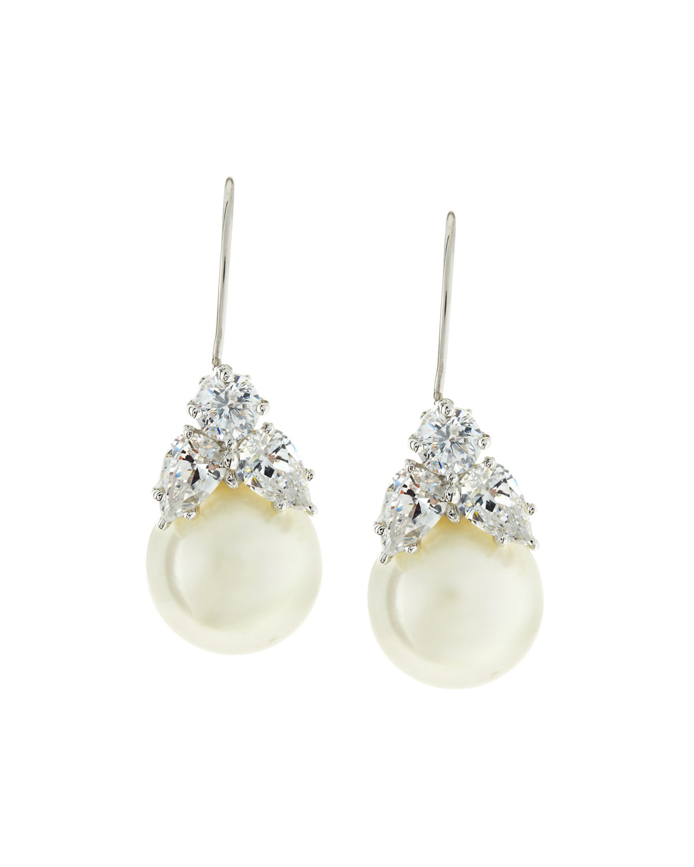2.0 TCW Simulated Pearl & Cubic Zirconia Drop Earrings
