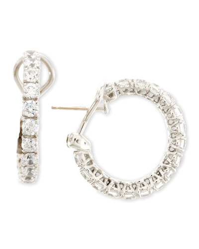Small Cubic Zirconia Hoop Earrings, 3 TCW