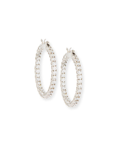 Large Cubic Zirconia Hoop Earrings, 3.2 TCW