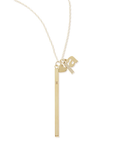 I Heart Necklace with Your Choice of 2 Letter Charms