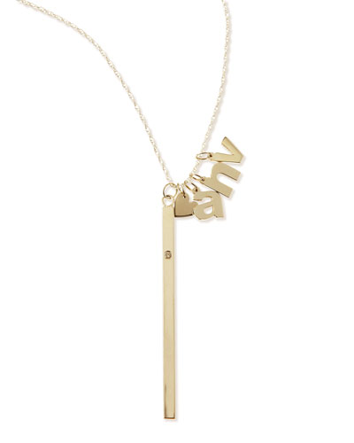 I Heart Necklace with Your Choice of 3 Letter Charms