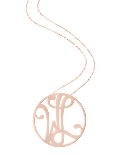 Medium 2-Initial Necklace, Rose Gold