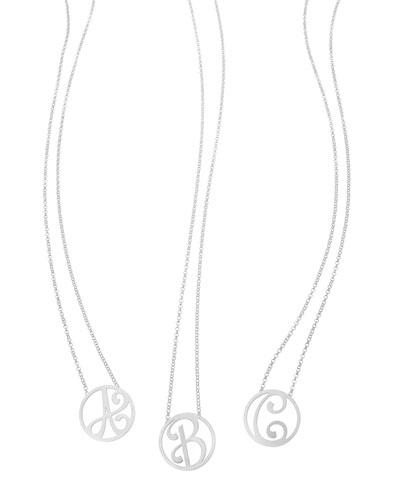 Mini Single Initial Necklace, Rhodium Silver, 18