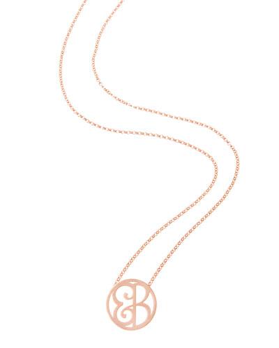 Mini 2-Initial Monogram Necklace, Rose Gold, 18