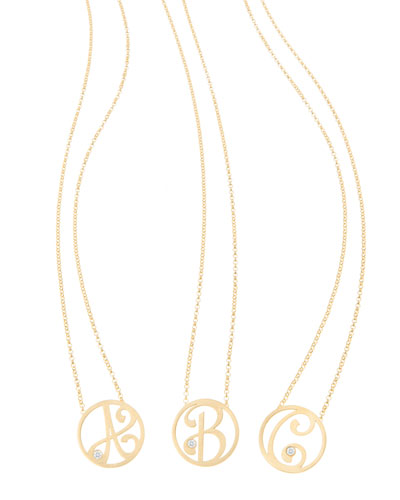 Mini Single Initial Diamond Necklace, 18
