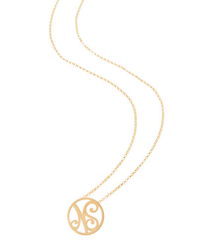 Mini 2-Initial Monogram Necklace, Yellow Gold, 18