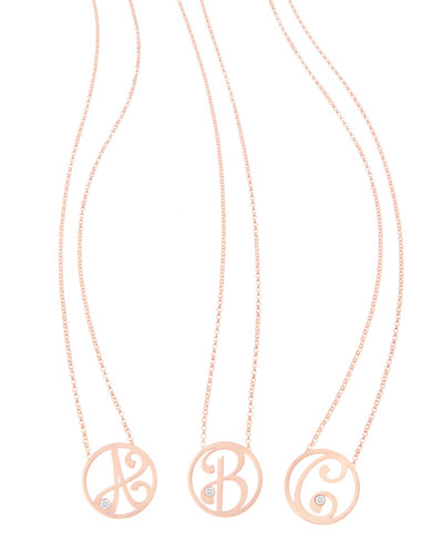 Mini Single Initial Diamond Necklace Gold, 18