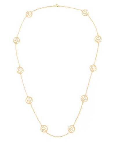 2-Initial Monogram Station Necklace, Yellow Gold, 34