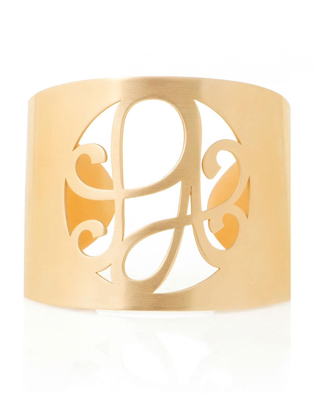 2-Initial Monogram Cuff Bracelet, Yellow Gold