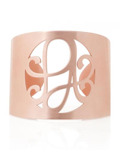 2-Initial Monogram Cuff Bracelet, Rose Gold