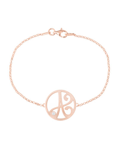 Mini Single Initial Diamond Bracelet, Rose Gold