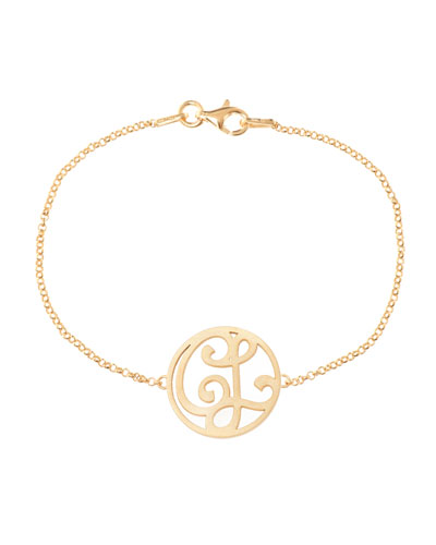 Mini 2-Initial Monogram Bracelet, Yellow Gold